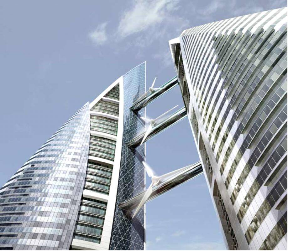 Bahrain World Trade Center com Turbinas Eólicas